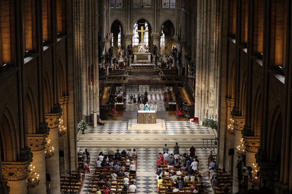 Looking down on people attending a service of mass in the cathedral