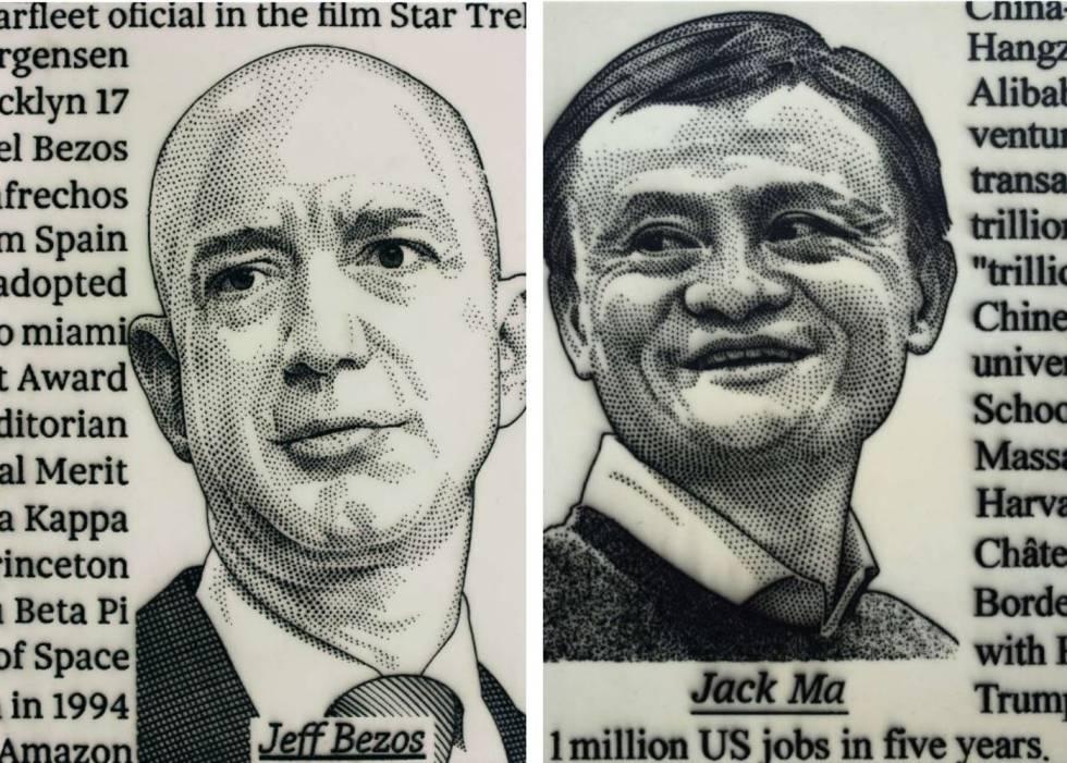 Dos obras de José María Cano que retratan a Jeff Bezos, de Amazon, y Jack Ma, de Alibaba.