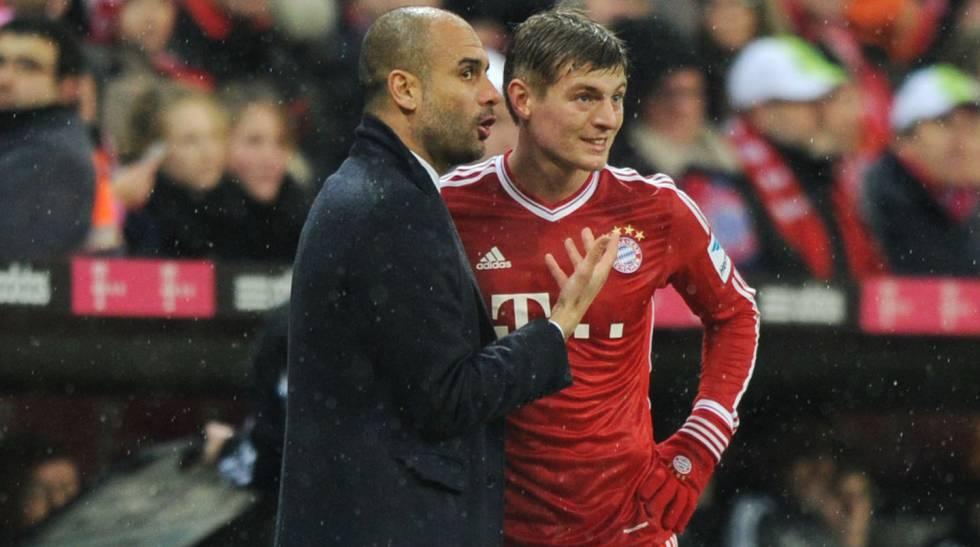 Guardiola y Kroos, en la temporada que coincidieron en el Bayern.