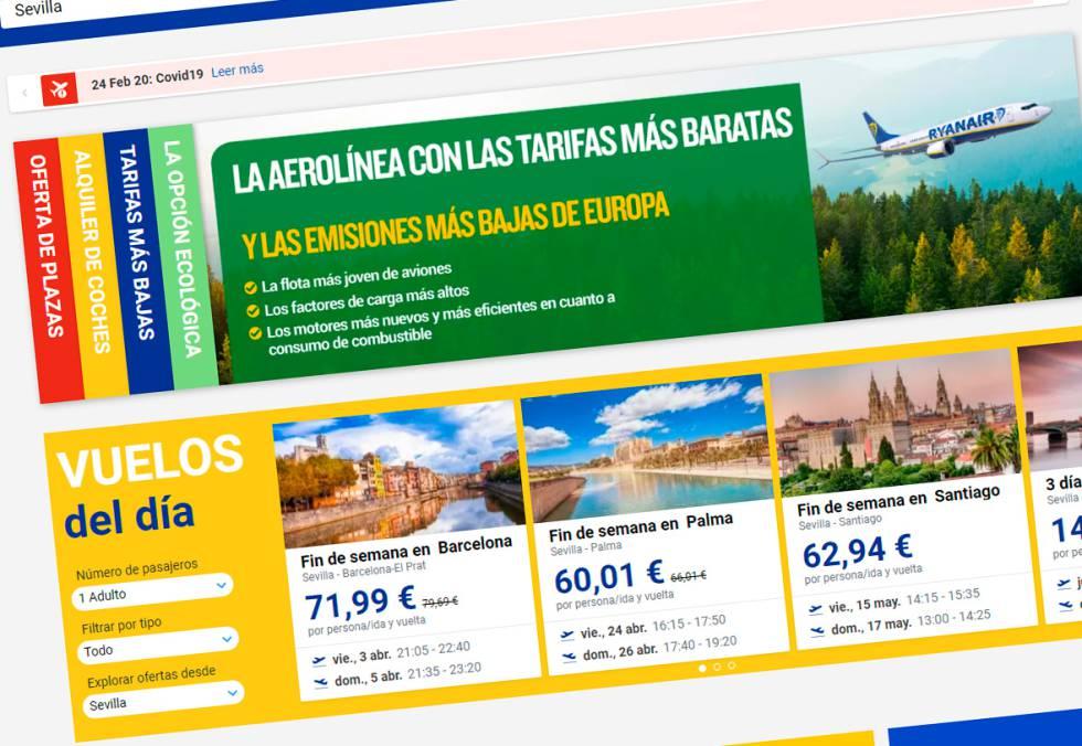 Publicidad de Ryanair anunciándose como la aerolínea con las emisiones más bajas de Europa
